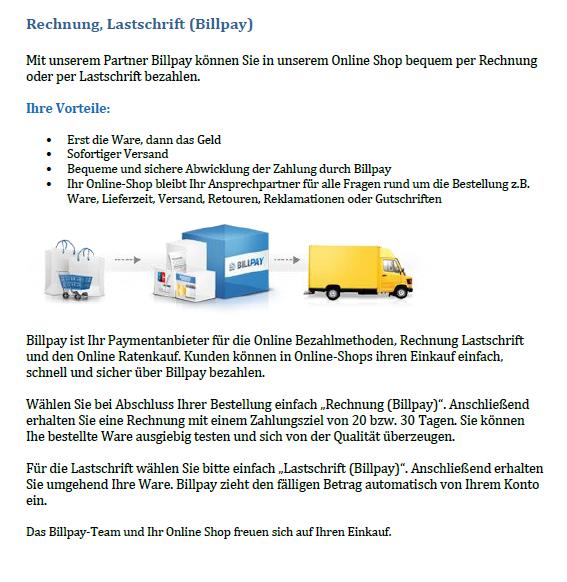 Kauf auf Rechnung und Zahlung per Lastschrift ohne Ausfallrisiko – billpay.de